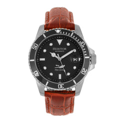 Related product : Heritor Automatic Lucius Leather-Band Watch w/Date - Silver/Brown