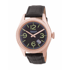 Related product : Heritor Automatic Barnes Leather-Band Watch w/Date - Rose Gold/Black