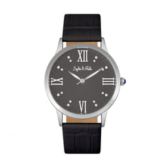 Related product : Sophie & Freda Sonoma Leather-Band Watch w/Swarovski Crystals - Silver/Black