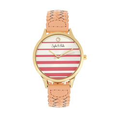 Related product : Sophie & Freda Tucson Leather-Band Watch w/Swarovski Crystals - Gold/Coral