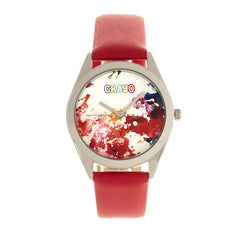 Related product : Crayo Graffiti Leather-Band Watch - Silver/Red