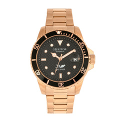 Related product : Heritor Automatic Lucius Bracelet Watch w/Date - Rose Gold/Black