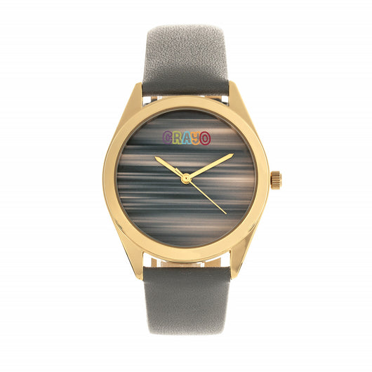 Crayo Graffiti Leather-Band Watch - Gold/Grey
