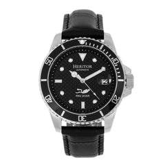 Related product : Heritor Automatic Lucius Leather-Band Watch w/Date - Silver/Black