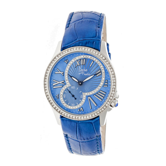 Sophie & Freda Toronto Leather-Band Ladies Watch - Silver/Blue