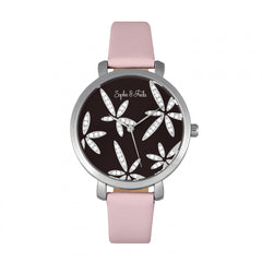 Related product : Sophie & Freda Key West Leather-Band Watch w/Swarovski Crystals - Silver/Mauve