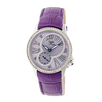 Sophie & Freda Toronto Leather-Band Ladies Watch - Silver/Purple