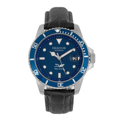 Related product : Heritor Automatic Lucius Leather-Band Watch w/Date - Silver/Blue