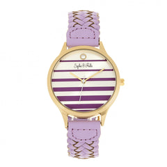 Related product : Sophie & Freda Tucson Leather-Band Watch w/Swarovski Crystals - Gold/Lavender