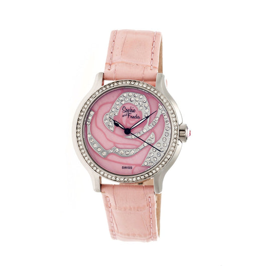 Sophie & Freda Monaco MOP Swiss Ladies Watch - Silver/Coral