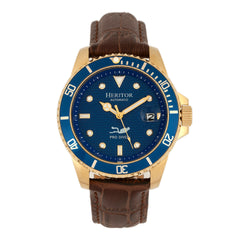 Related product : Heritor Automatic Lucius Leather-Band Watch w/Date - Gold/Blue