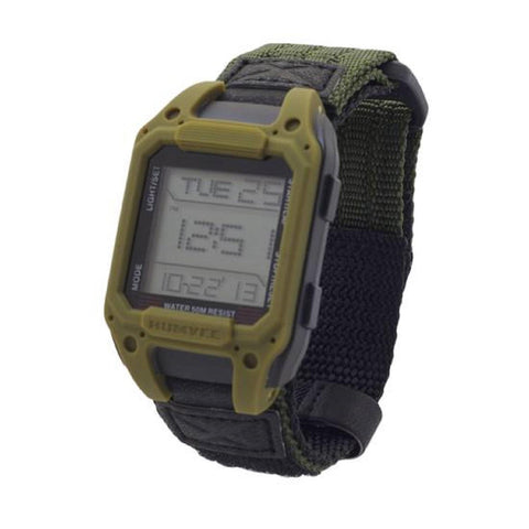 Humvee Recon Digital Watch Olive Nylon Strap Green Face