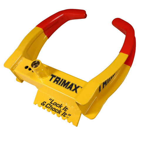 Trimax TCL65 Deluxe Universal Wheel Chock Lock-Yellow-Red