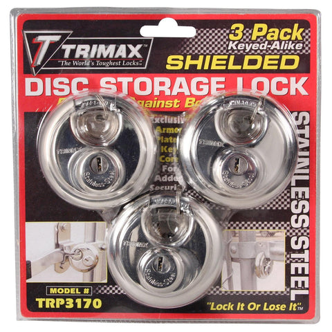 Trimax TRP3170 Round Stainless Steel Padlocks 70mm-3 Pack