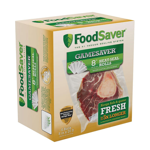 FoodSaver GameSaver 8 Inches X 20 Feet Long Rolls - 6 Pack