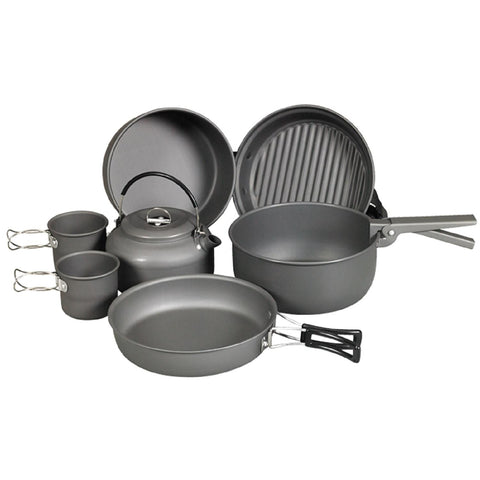 NDuR - 9 Piece Cookware Mess Kit With Kettle