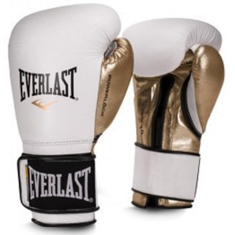 Everlast 14oz Men's Powerlock Hook-Loop Gloves White-Gold