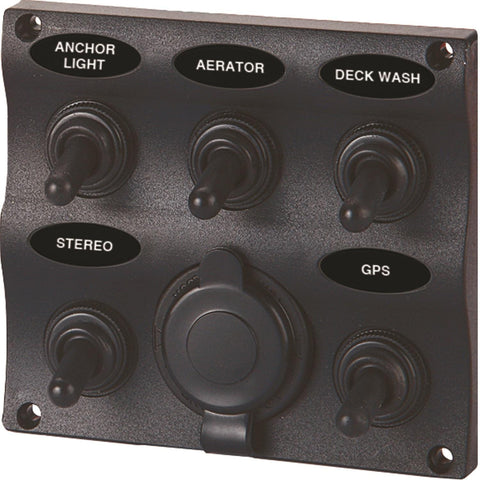 SeaSense 5 Gang Toggle Switch Panel with 12-Volt Outlet