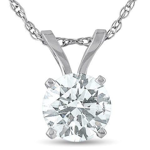 .65 Ct Diamond Solitaire Pendant Necklace Available in 14k White or Yellow Gold