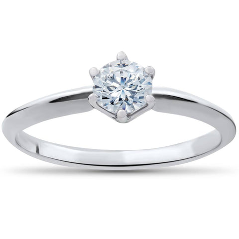 1/3ct Round Diamond Solitaire Engagement Ring 14K White Gold Size 6