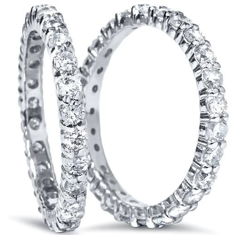 2ct Matching Diamond Eternity Wedding Ring 14K White Gold Stackable Band Set