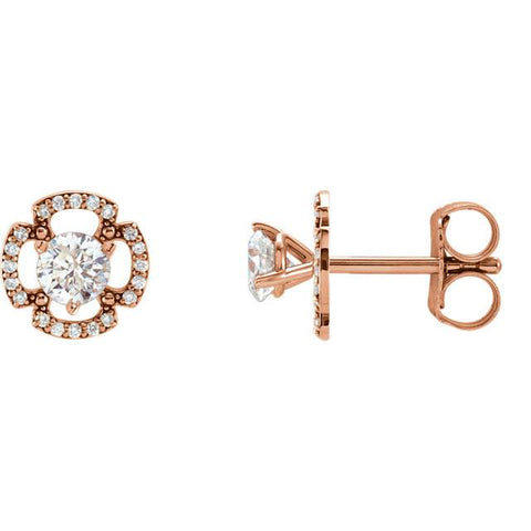 1/5Ct Clover Diamond Earring Jackets 14K Rose Gold