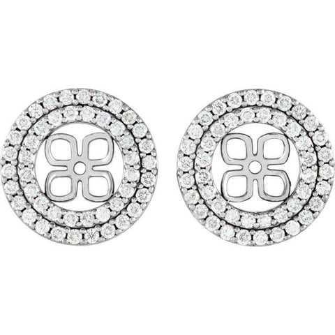 7/8Ct Double Halo Diamond Earring Jackets 14K White Gold For 8mm Pearls