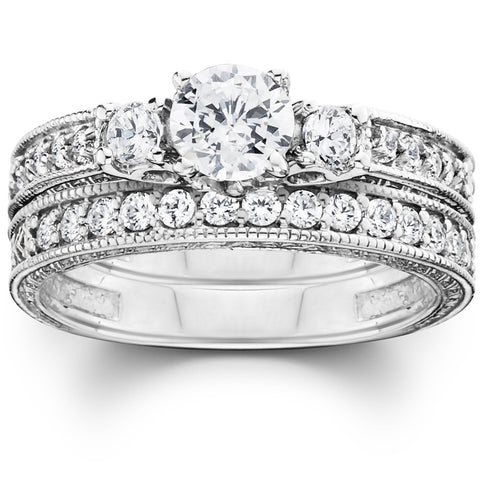 1 1/4ct Vintage Diamond Engagement Wedding Ring Set 14K