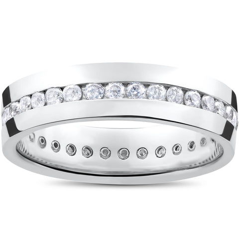 Mens 1 1/10ct Round Diamond Channel Set Eternity Ring Wedding Band Anniversary