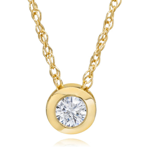 14K Yellow Gold 1/4 ct Round Diamond Solitaire Bezel Pendant Necklace 18""