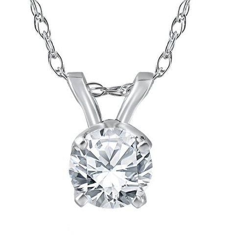 "1/2 Ct Solitaire Enhanced Diamond Pendant 14K White Gold w/ 18"" Chain"