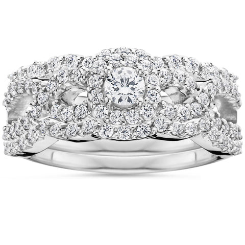 1.10Ct Diamond Bridal Engagement Ring Set 10K White Gold