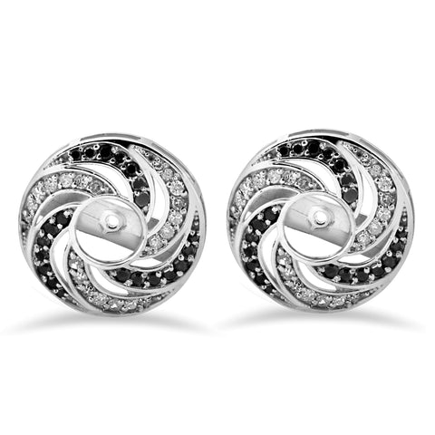 1/2 ct 14K White Gold Treated Black & White Diamond Spiral Halo Earring Jackets