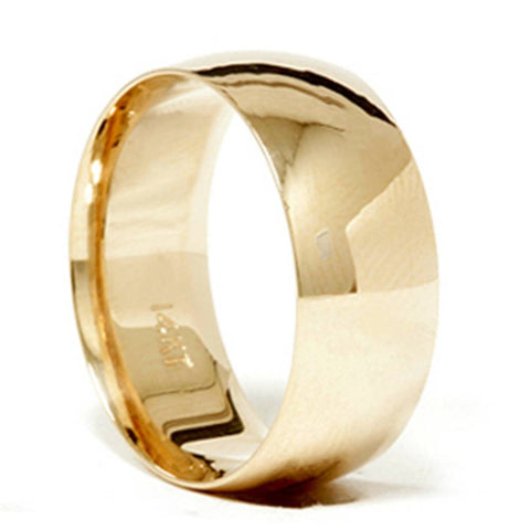 14k gold 8mm plain wedding band high polished yellow gold mens ring
