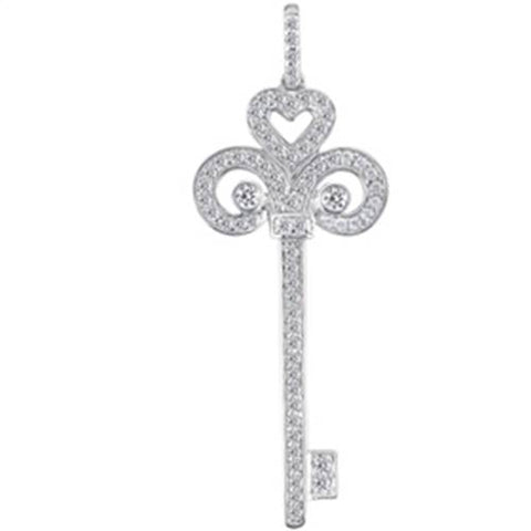1 1/6ct HUGE Real Diamond Key 14K White Gold Pendant