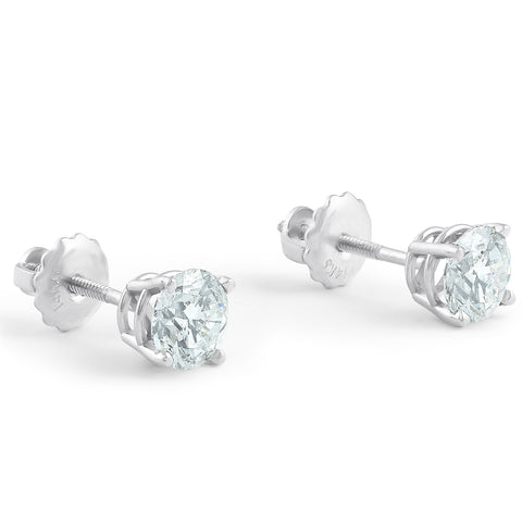 I/VS 1.25 Ct Diamond Screw Back Studs 14k White Gold Lab Grown Eco Friendly