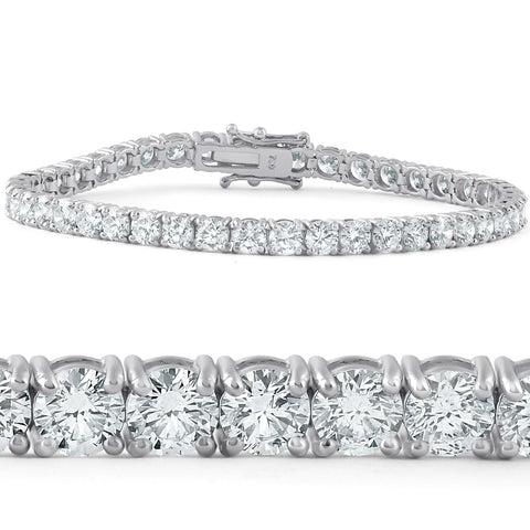 F/VS 10 Ct Diamond Tennis Bracelet 18k White Gold Lab Grown Eco Friendly