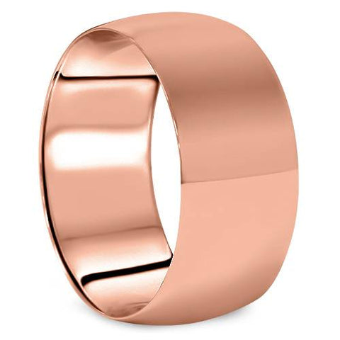 10mm Dome High Polished Wedding Band 14K Rose Gold