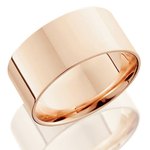 High Polished Flat 10MM Mens Wedding Band Ring Solid 14K Rose Gold