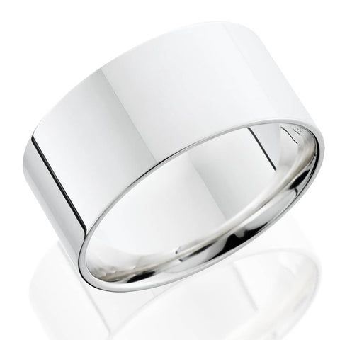 10mm Flat High Polished Wedding Band 14K White Gold