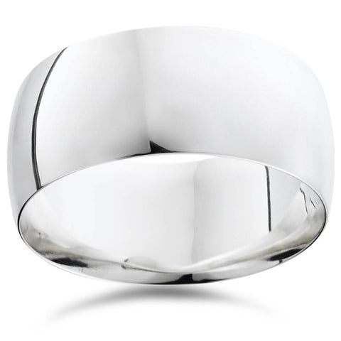 10mm High Polished Wedding Band 14K White Gold