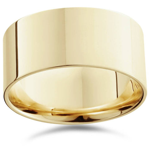 10mm Flat High Polished Wedding Band 10K Yellow Gold