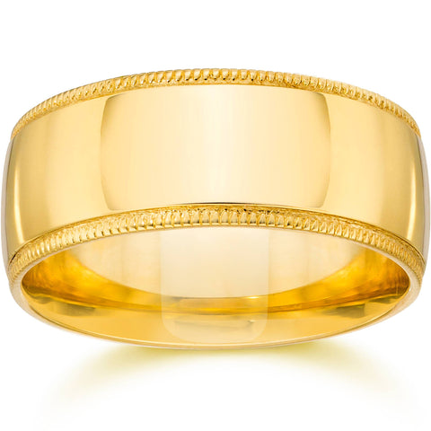10MM Milgrain Wedding Band 14K Yellow Gold
