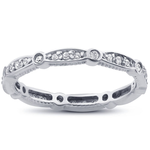 3/8ct Stackable Diamond Eternity Ring 14K White Gold