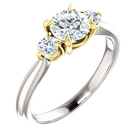 H/SI 1 Ct Natural Diamond Three Stone Gold Two Tone Engagement Anniversary Ring
