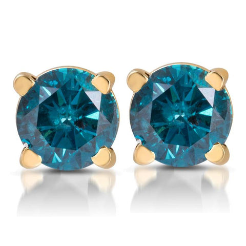 1/3ct Treated Blue Diamond Studs 14 Karat Yellow Gold