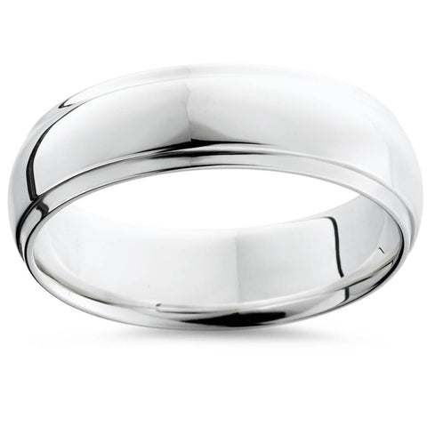 Mens Argentium Silver Comfort Fit Wedding Band