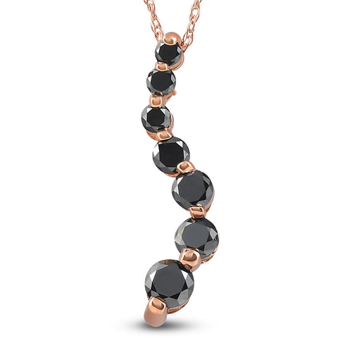 14K Pink Rose Gold 1/2ct Black Diamond Journey Pendant Necklace