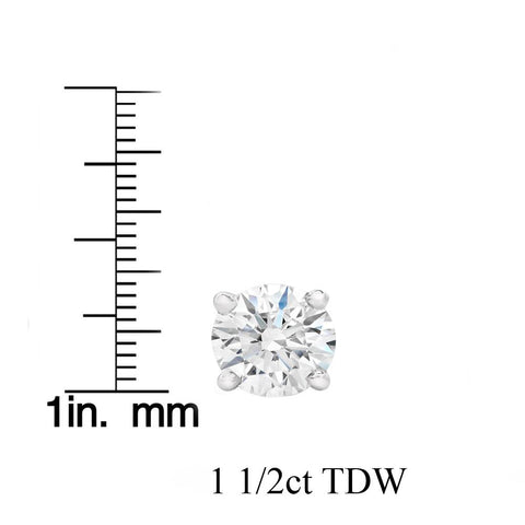 F VS 1.50ct Diamond Studs 14k White Gold Screw Backs