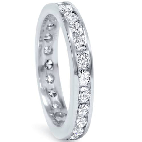 1 1/2ct Channel Set Diamond Eternity Ring 950 Platinum Womens Wedding Band